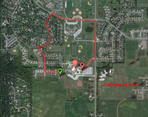 250' to walk, 1.5 miles to drive