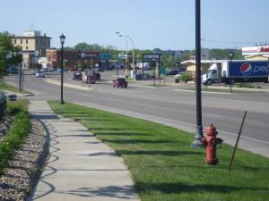 A sidewalk along Highway 3, but still hard to cross