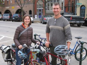 High capacity bike rack on Division Street (with Derek & Laura Meyers - HCI Making a Difference winners and Imminent Brewers)