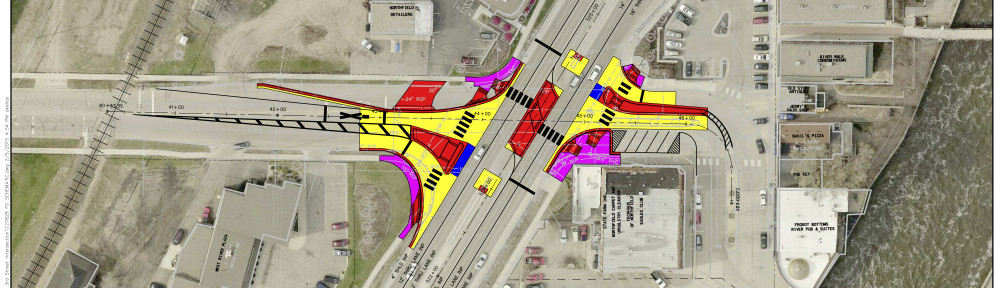 Diagram of proposed changes to Highway 3 & 3rd Street Northfield