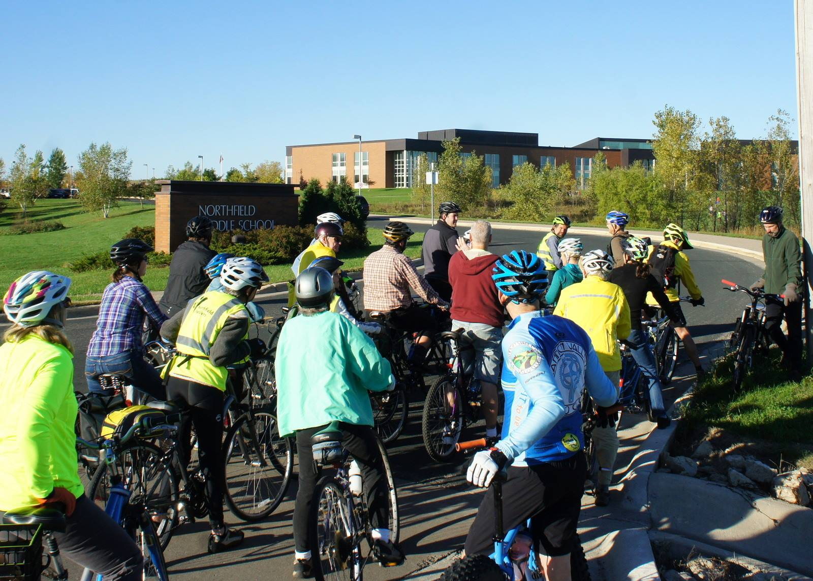 Northfielders consider how to make the Middle School more Bike Firendly with Steve Clark (Photo: Griff Wigley)