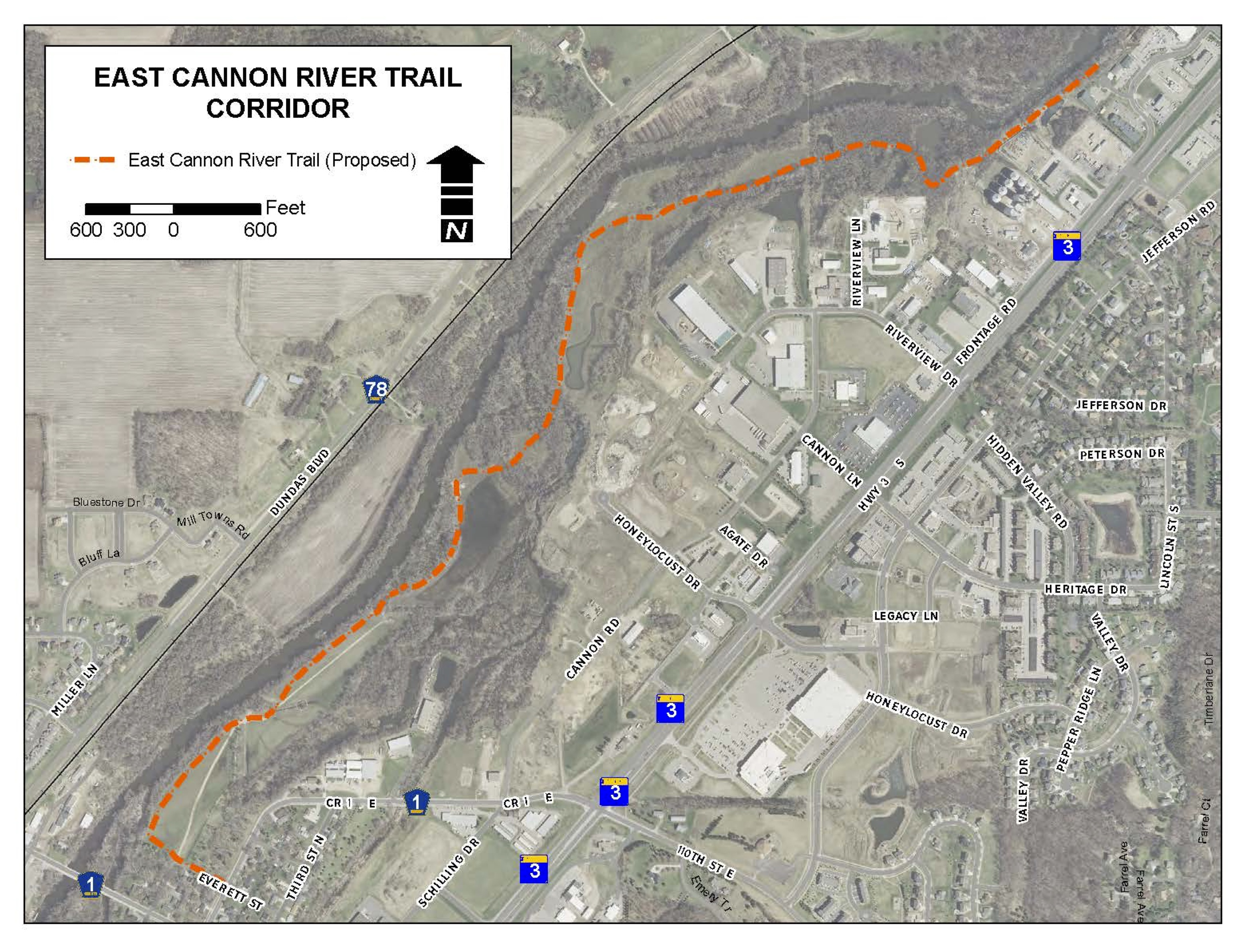 Map of Northfield East Cannon River Trail route