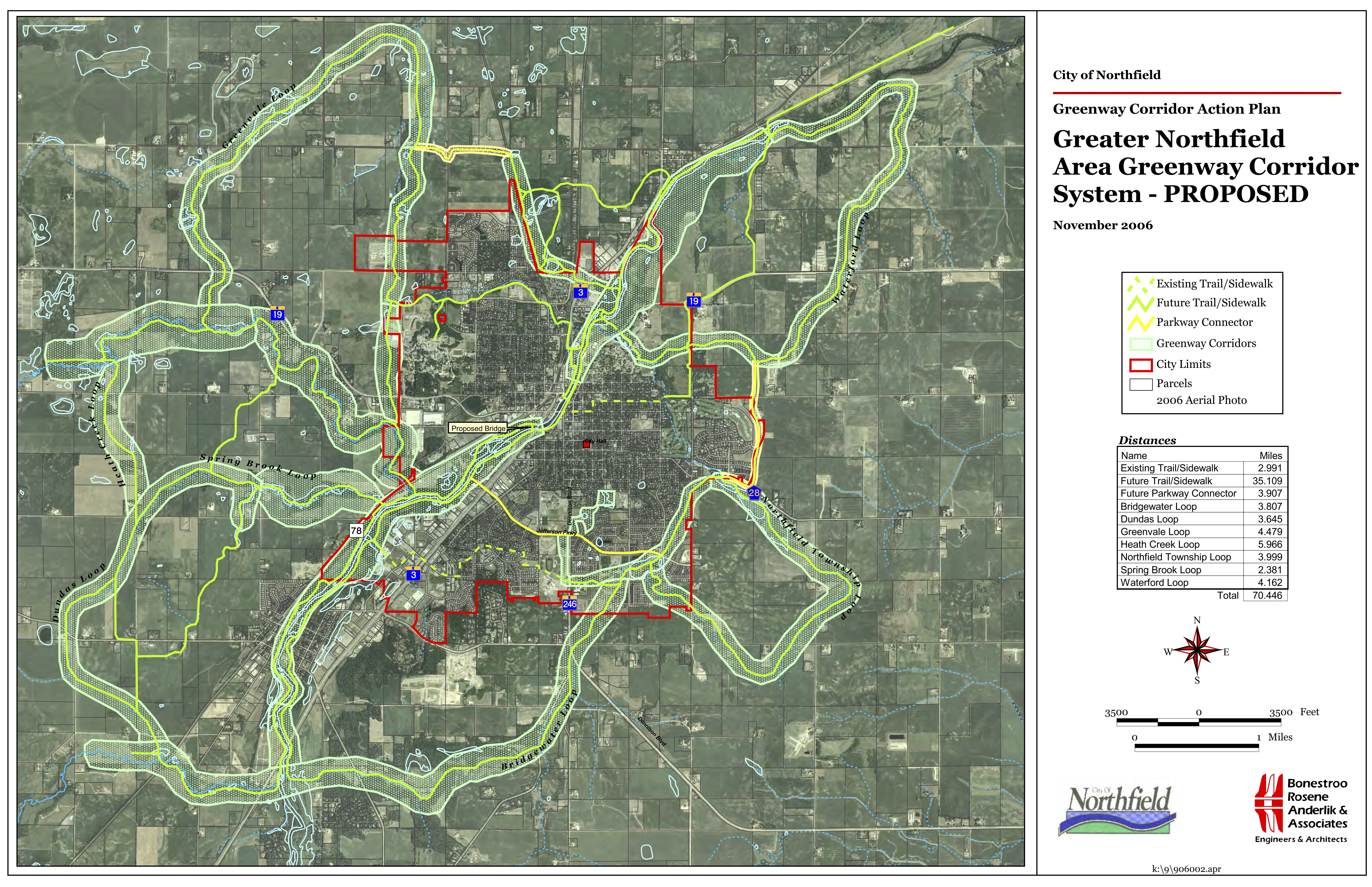 Northfield Greenway Corridors system map