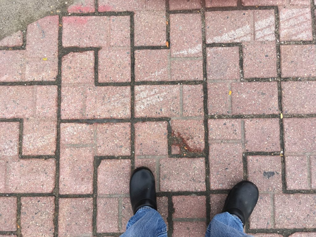 Crosswalk pavers showing damage